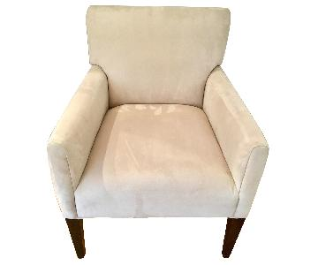 Beige Accent Chair w/ Walnut Legs