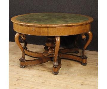 19th Century 1850 Cherry Wood Italian Round Table