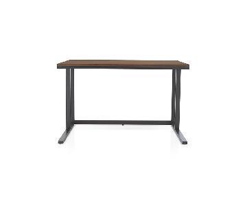 Crate & Barrel Pilsen Graphite Desk w/ Walnut Top