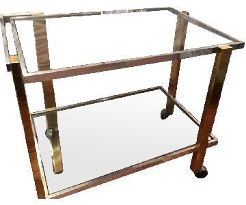 Vintage Glass Brass & Chrome Bar Cart