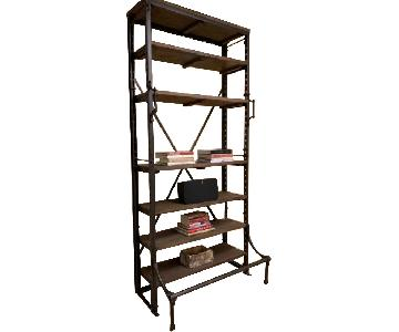 Restoration Hardware French Library Wood/Metal Shelving Unit