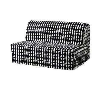 Ikea Lycksele Lovas Sleeper Sofa in Ebbarp Black/White