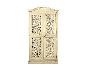 Anthropologie Carved White Wood Armoire