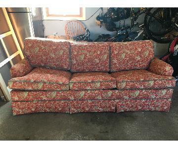 Red Jacquard Porter Style Sleeper Sofa