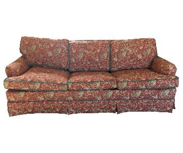 Red Jacquard Porter Style Sleeper Sofa