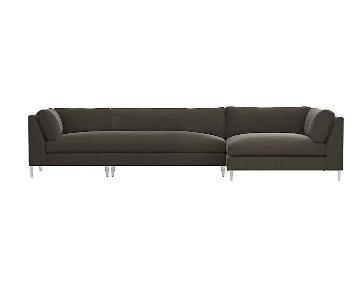 CB2 Decker 3-Piece Grey Sectional Sofa