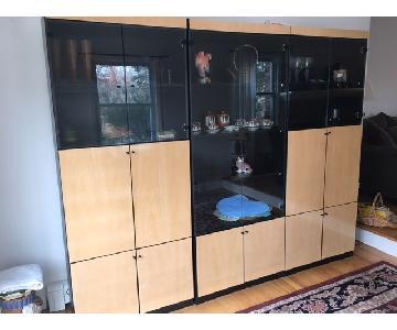 Macy's 3-Piece Wood Veneer & Smokey Glass Wall Cabinet