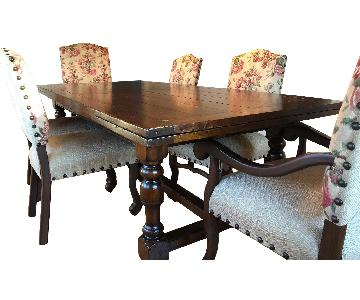 Mahogany Expandable Pedestal Dining Table w/ 6 Chairs