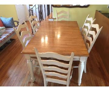 Light Oak Wood & White 7-Piece Dining Set