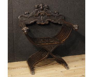Italian Savonarola Wood Armchair