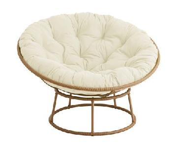 Pier 1 Natural Rattan Papasan Chair & Ottoman