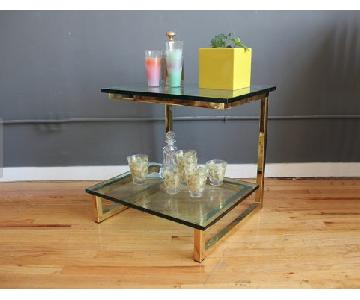 Mid Century 2-Tier Glass & Brass Side Table