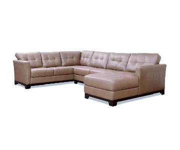 Macy's Martino Cafe Tufted Leather Sectional Sofa