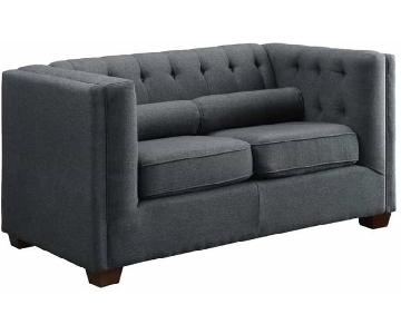 Charcoal Modern Tufted Loveseat