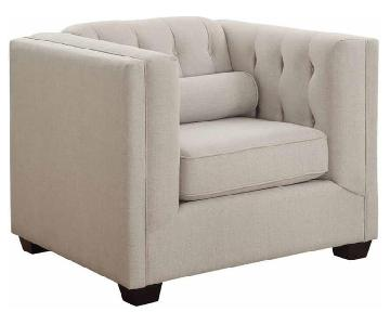 Oatmeal Modern Tufted Accent Chair