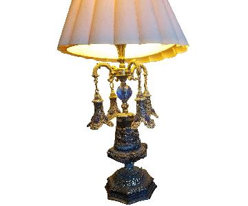 Antique Moroccan Lamp w/ Blue Crystal Accents