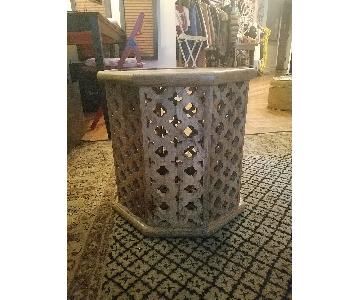 Vintage Moroccan Wooden Carved Table
