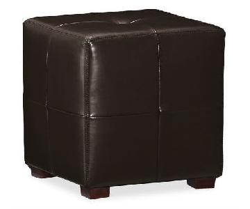 Pottery Barn Sullivan Leather Cube Ottomans
