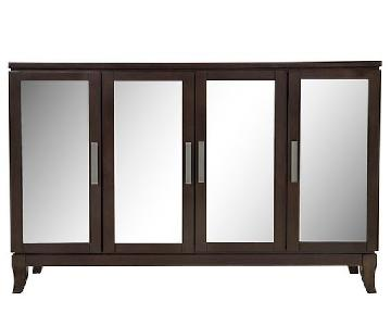 Raymour & Flanigan Mirrored Credenza w/ Shelving & Doors