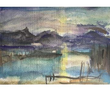 Sundown with Cattails-Watercolor
