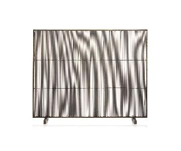 Crate & Barrel Antiqued Brass Fireplace Screen