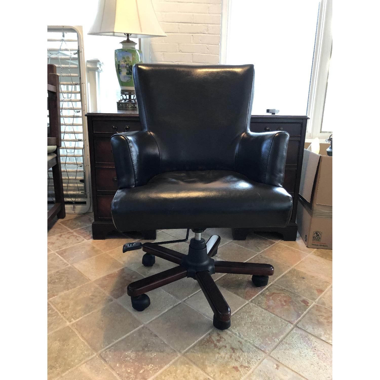 Dark Brown Leather Desk Chair-0