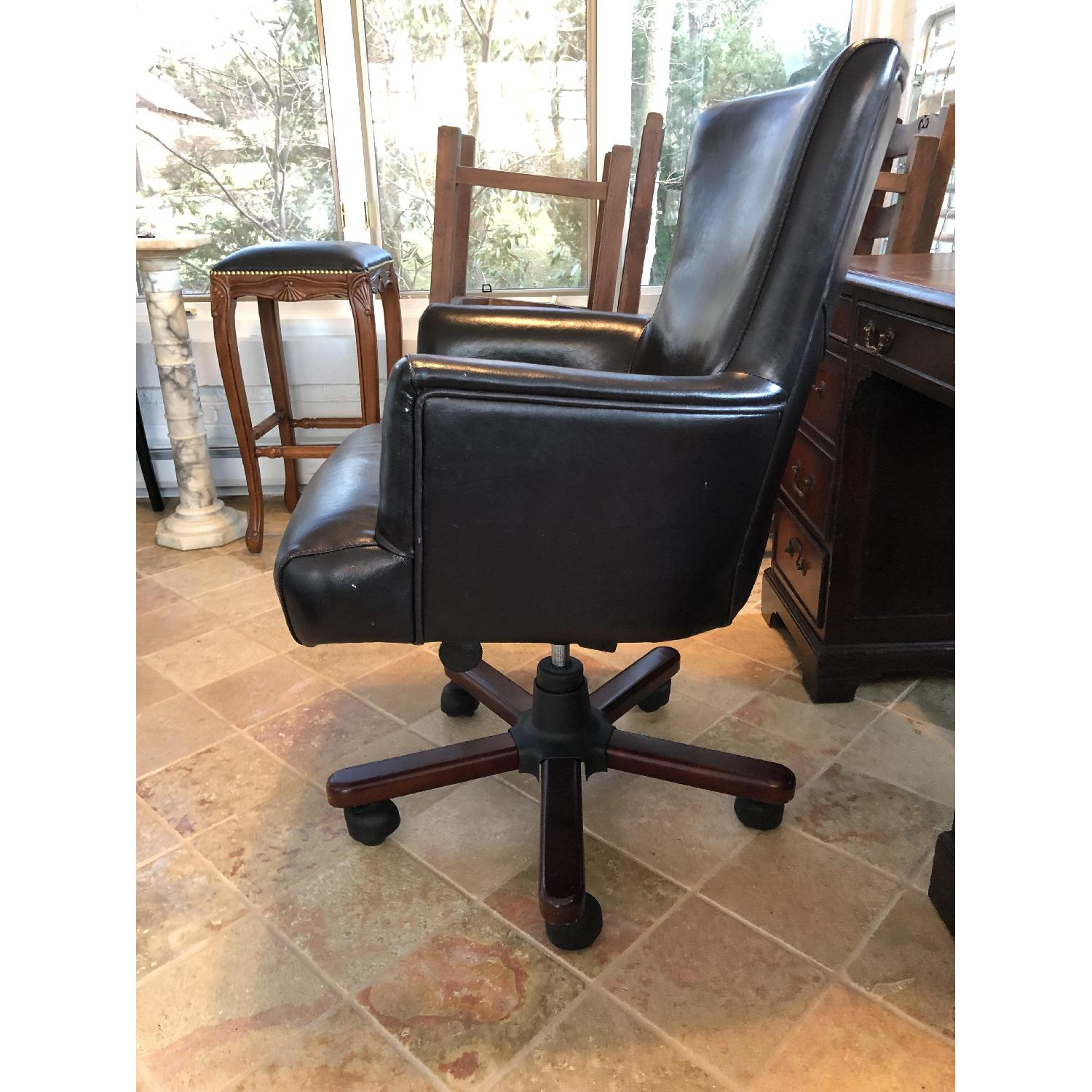 Dark Brown Leather Desk Chair-1