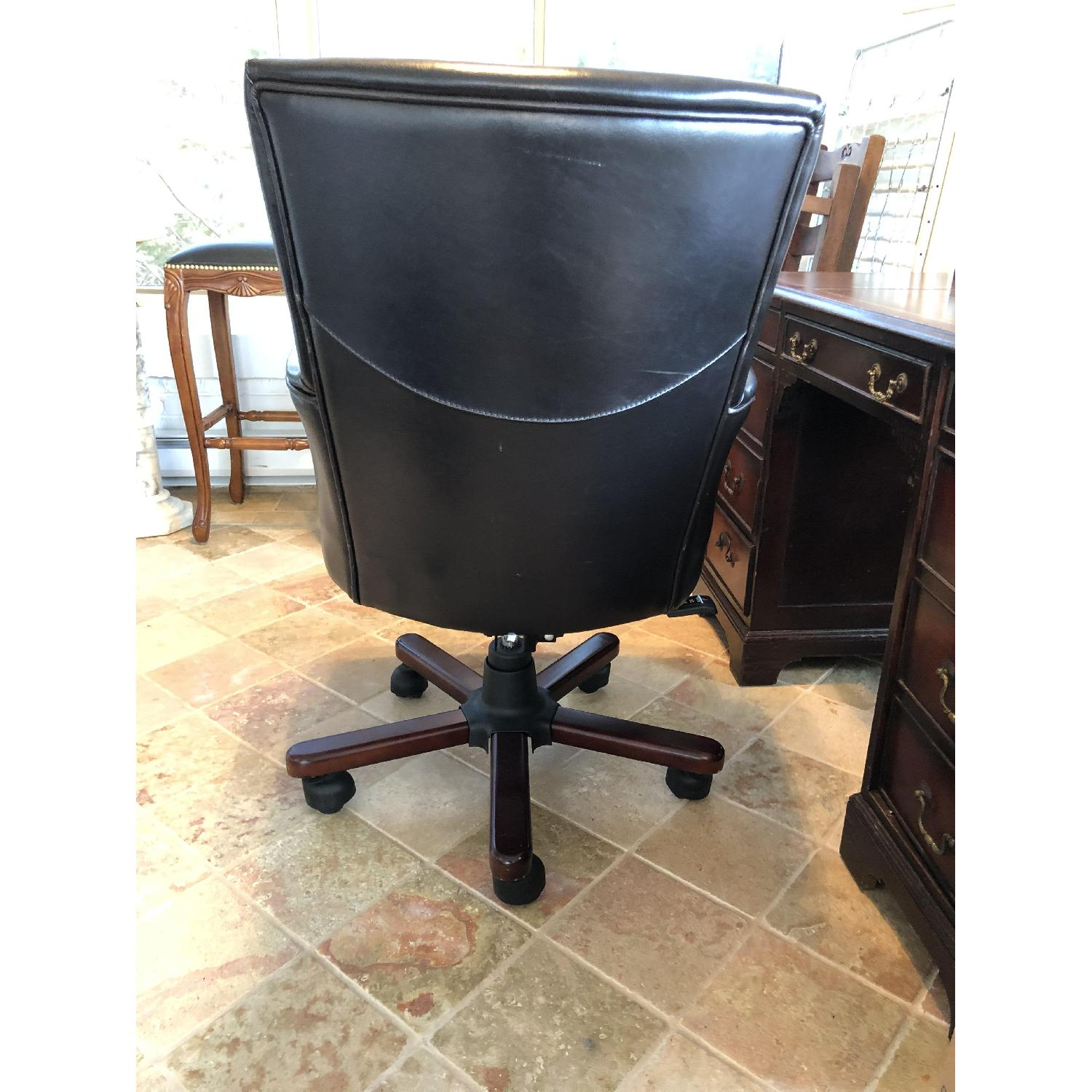 Dark Brown Leather Desk Chair-2