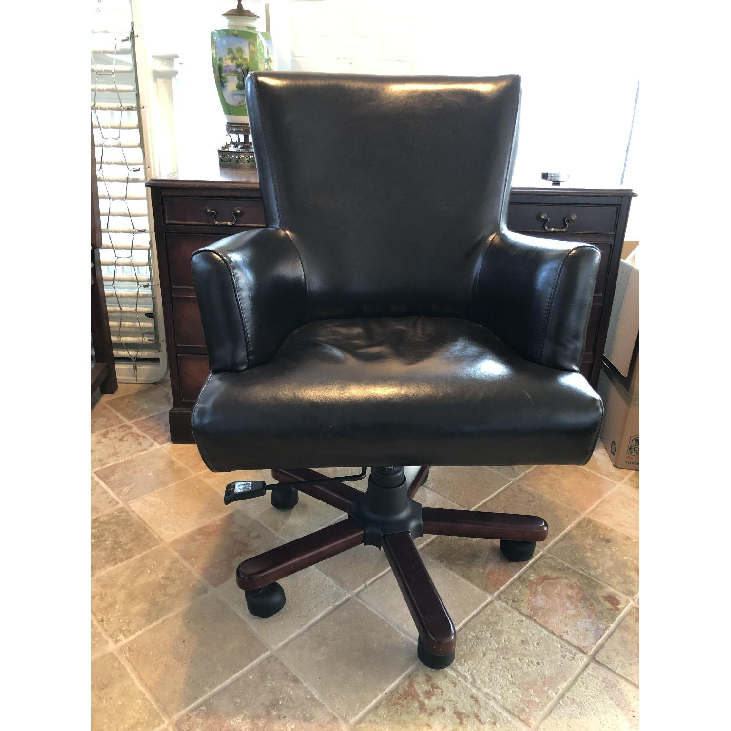 Dark Brown Leather Desk Chair-3