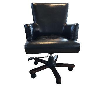 Dark Brown Leather Desk Chair