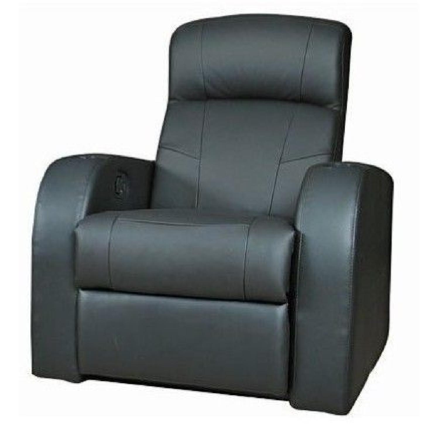 Recliner Chair In Black Leather Match W Cup Holders Aptdeco