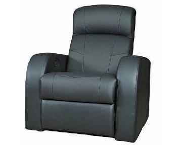 Recliner Chair in Black Leather Match w/ Cup-Holders