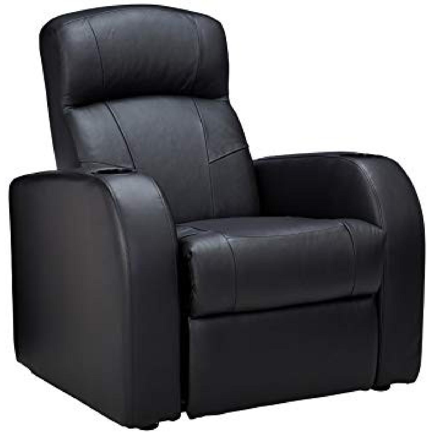 Recliner Chair in Black Leather Match w/ Cup-Holders-0