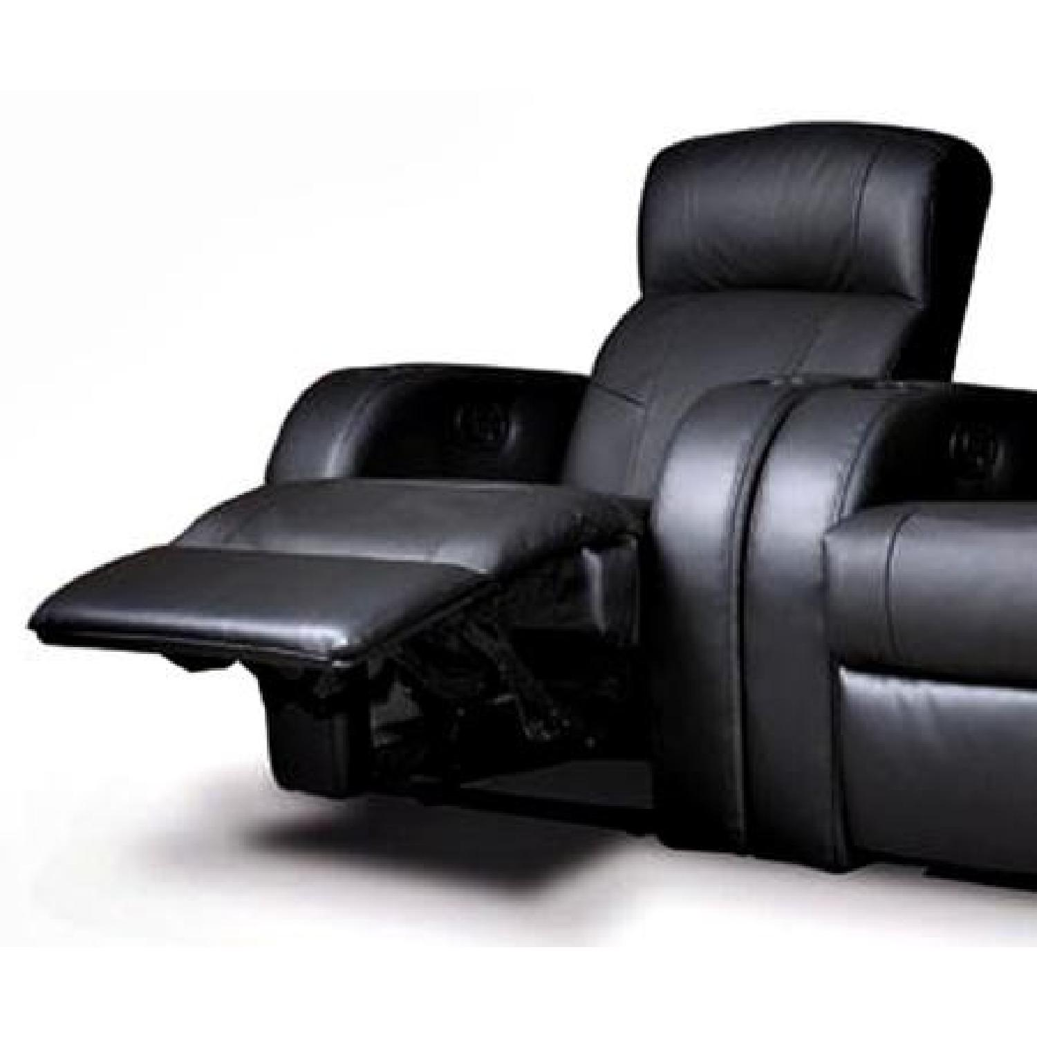 Recliner Chair in Black Leather Match w/ Cup-Holders - AptDeco