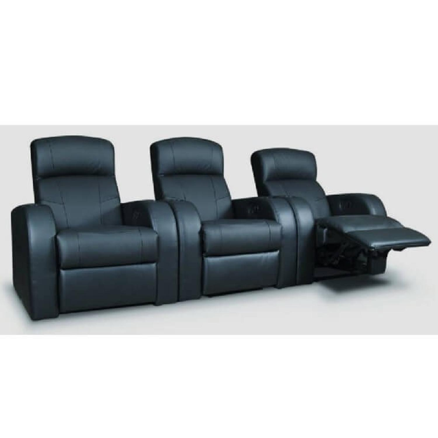 Recliner Chair in Black Leather Match w/ Cup-Holders-3