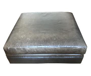 Arhaus Square Leather Ottoman in Libby Smoke