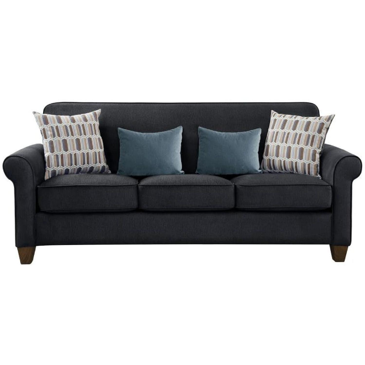 Rolled Arm Fabric Sofa in Graphite w/ Accent Pillows