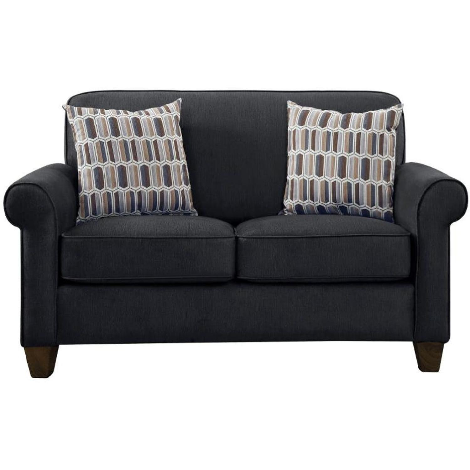 Rolled Arm Fabric Loveseat in Graphite w/ Accent Pillows
