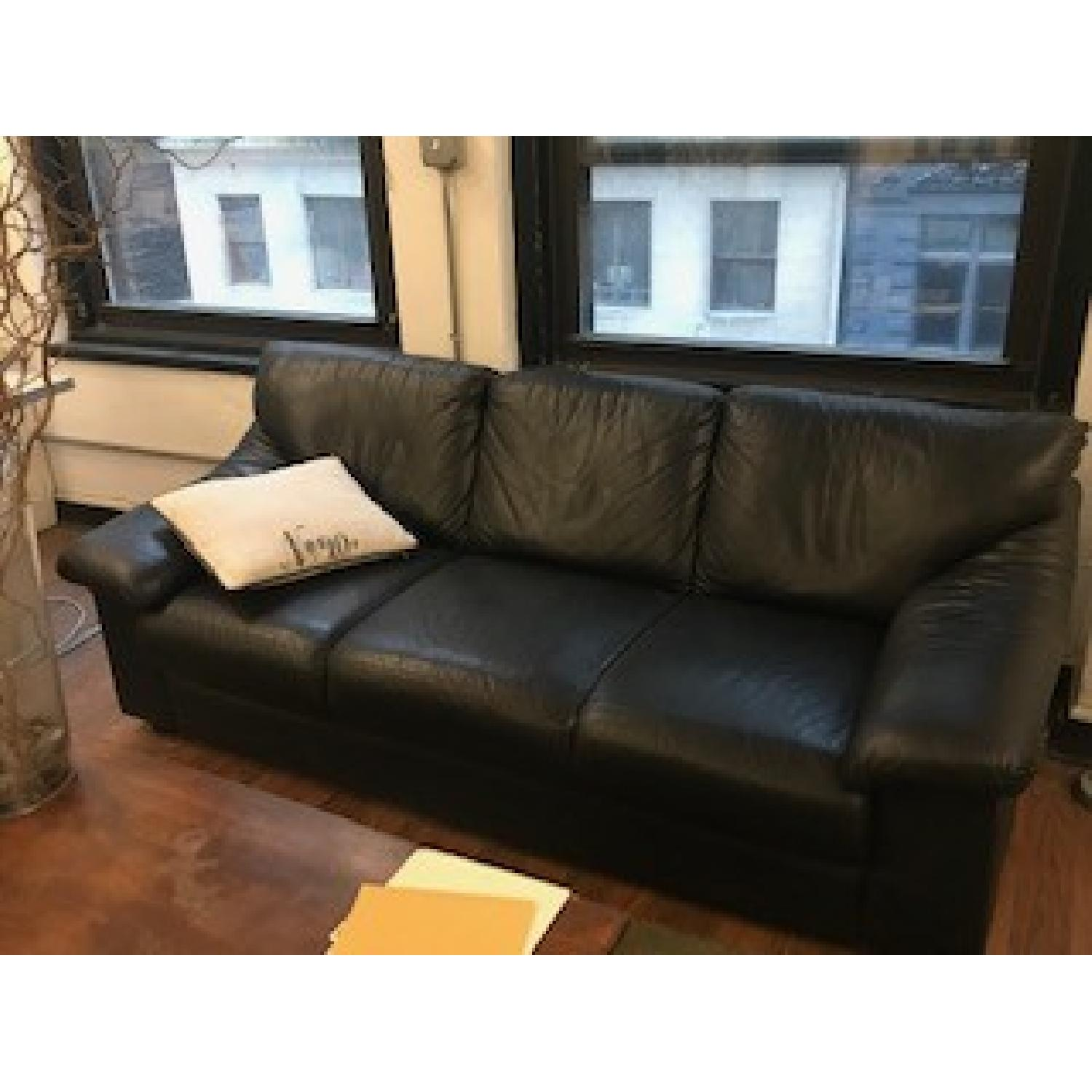 Black Leather 3 Seater Sofa Aptdeco