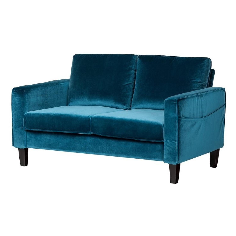 South Shore Furniture Blue Velvet Loveseat ...