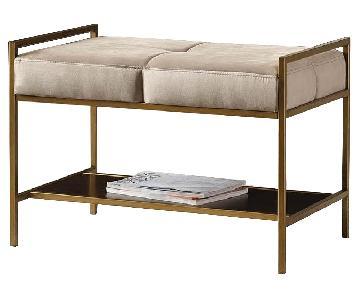 Bench in Brass Frame & Light Grey Velvet Cushions