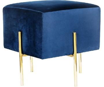 Square Stool/Ottoman in Blue Velvet w/ Brass Legs
