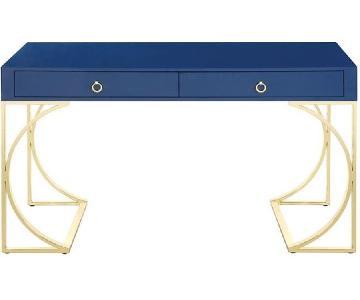 Modern Desk in Blue Gloss Finish w/ Brass Legs
