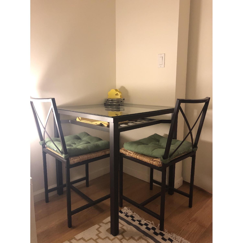 Ikea Glass Top Dining Table W 2 Rattan Seat Dining Aptdeco