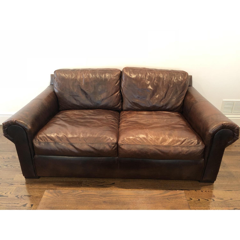 Restoration Hardware Leather Lancaster Loveseat