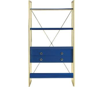 Modern Bookcase in Blue Gloss Finish w/ Brass Legs