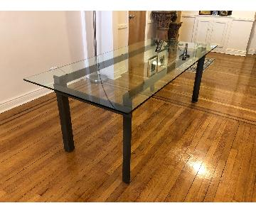 CB2 Glass Top Dining Table w/ Metal Base