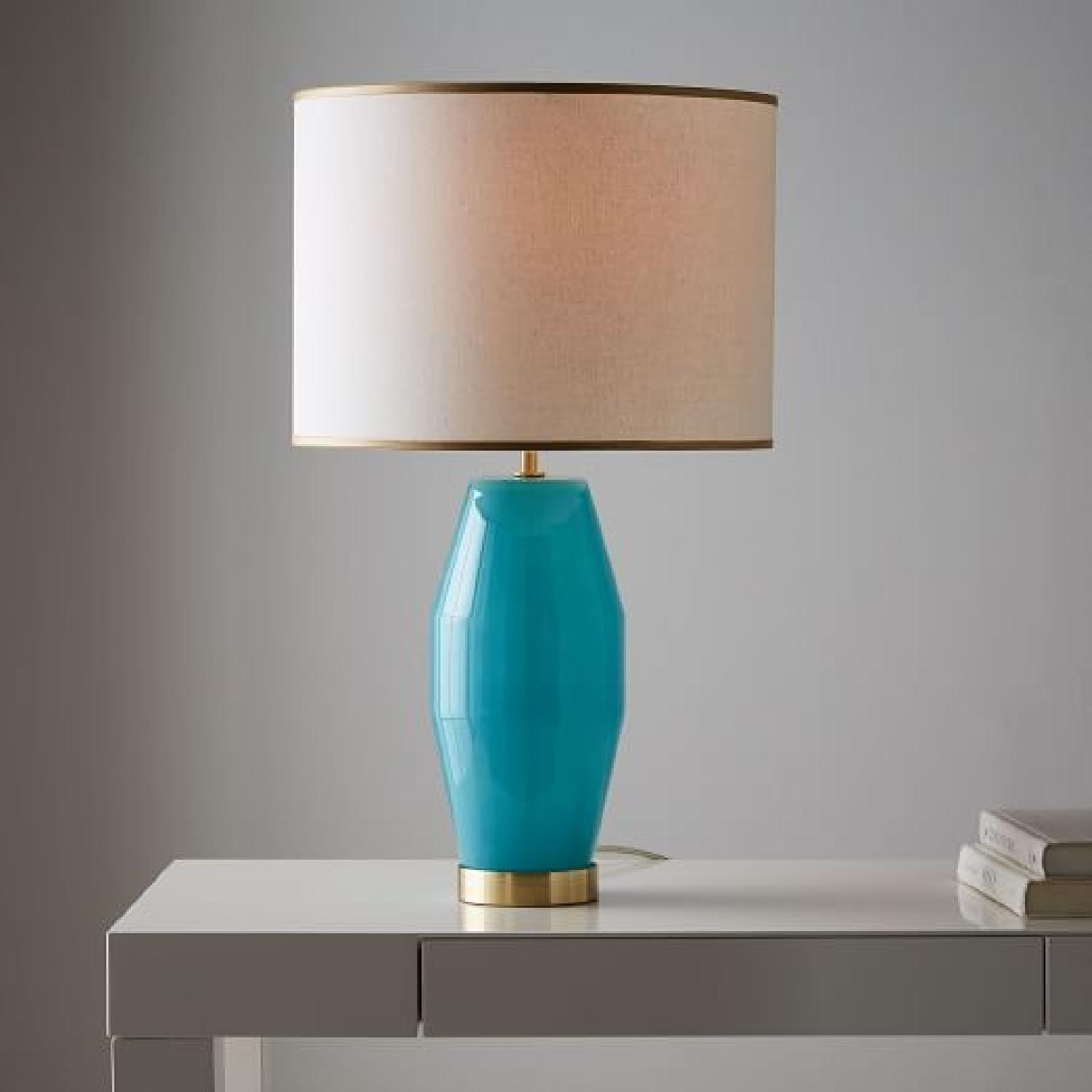 West Elm Aqua Glass Table Lamp Aptdeco