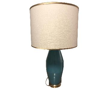 West Elm Aqua Glass Table Lamp