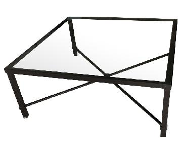 Crate & Barrel Glass & Steel Coffee Table